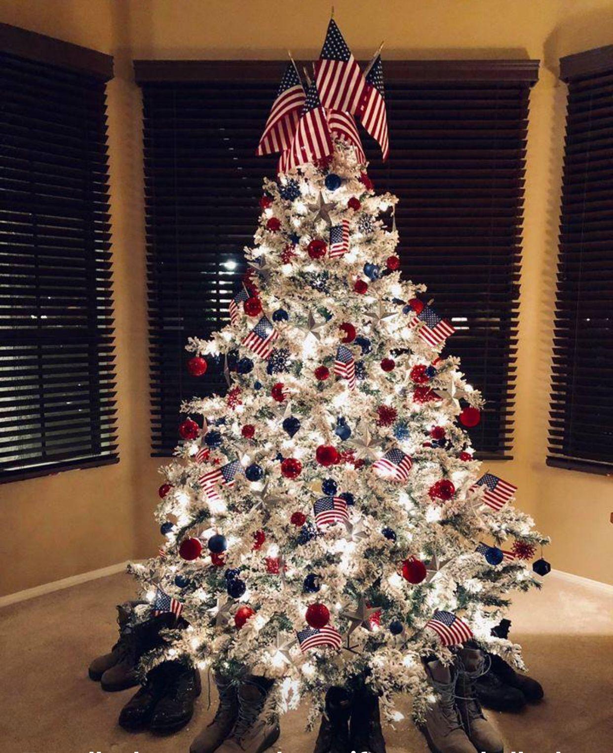 American Flag Christmas Tree Patriotic Christmas Tree Patriotic Christmas Decorations Unique Christmas Trees