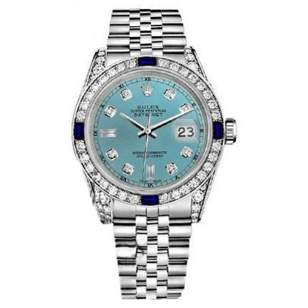 Pre-owned Rolex Datejust Ice Blue Jubilee Bracelet Sapphire & Diamonds... ($5,999) ❤ liked on Polyvore featuring jewelry, watches, bezel watches, diamond watches, pre owned watches, leather-strap watches and dial watches