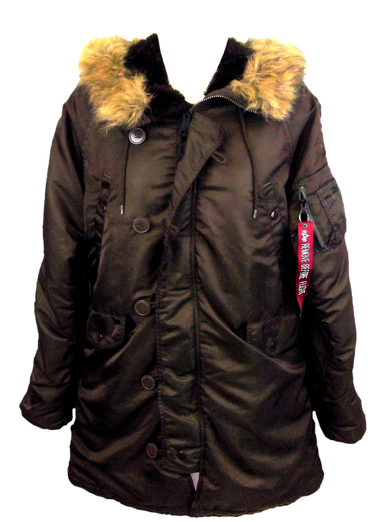 8a4d8198 NEW WOMENS ALPHA INDUSTRIES N3B VF59 BROWN OVERDYED PARKA HOODED JACKET