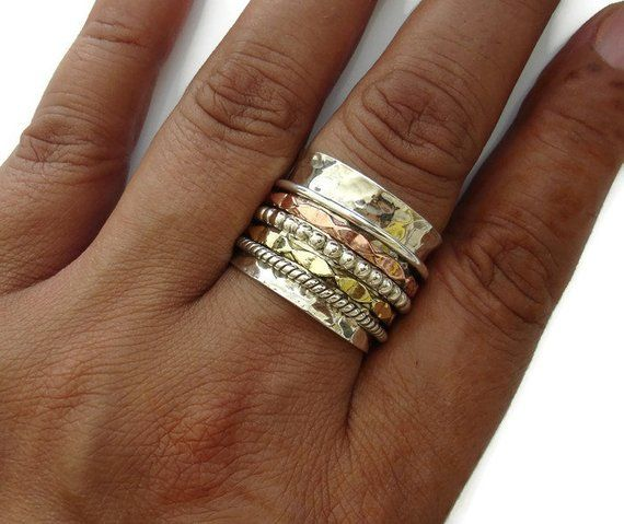 tout neuf 80f00 ba938 Spinner Ring 5 Ring Extra Wide Brass, Silver, Copper with ...