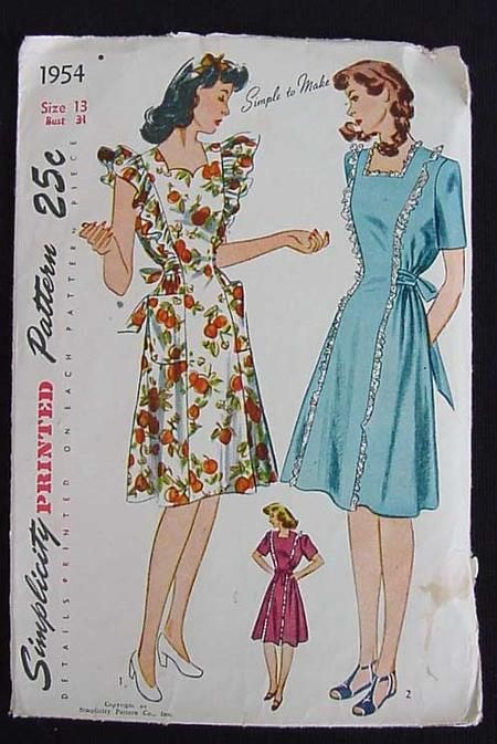 dc18d44458a67 1940's Maternity House Dress Pattern Simplicity 1954 has expanding sides.