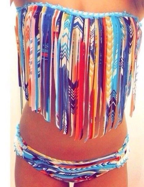 Vintage Style High Waisted Pin-up Swimwear Cute Bathing Suit Beautiful Pink Tribal Aztec Print Swimsuit Bow Bandeau Bikini