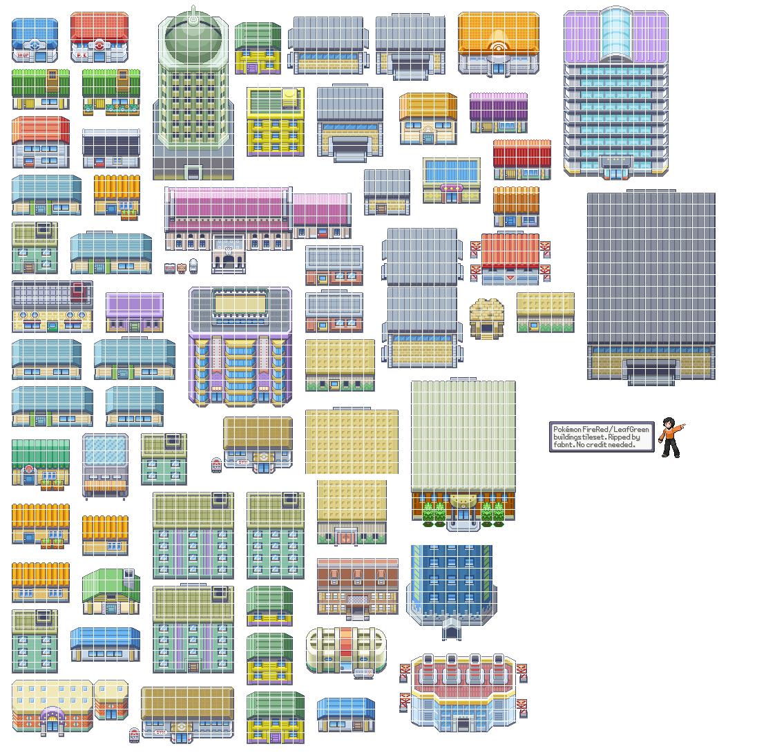 Pokemon Fire Red / Leaf Green - Tileset1 | Pokemon | Pokemon firered on