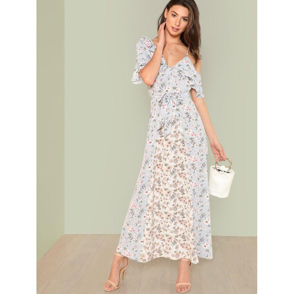 Flower print ruffle trim maxi dress products pinterest ruffle