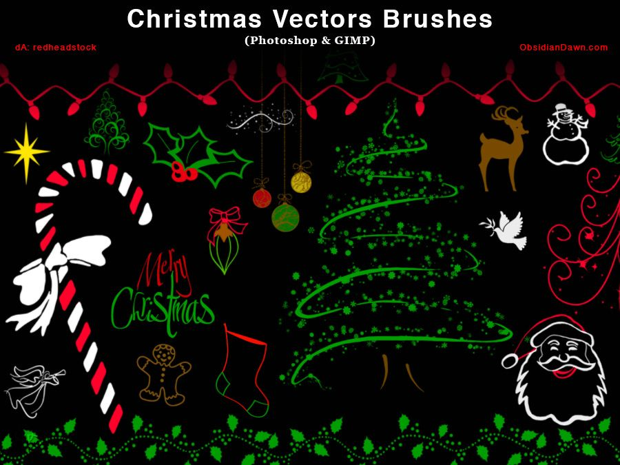 Christmas Vector Photoshop and GIMP Brushes by ...