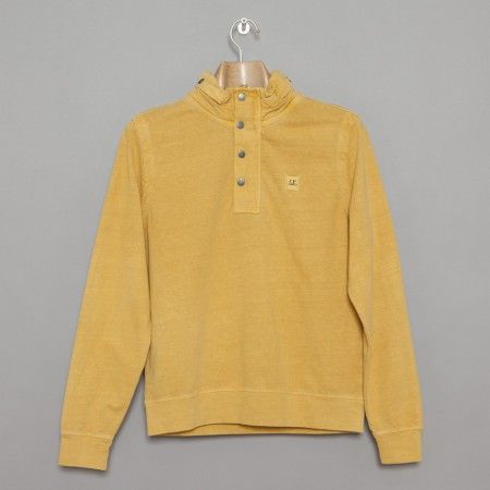 C.P. Company / Antique Dyed Concealed Hood Sweat - Mustard