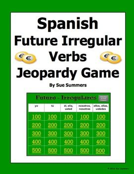 spanish future tense irregular verbs jeopardy game - spanish games, Powerpoint templates