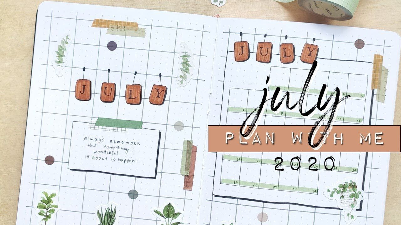 PLAN WITH ME July 2020 Bullet Journal Setup Green