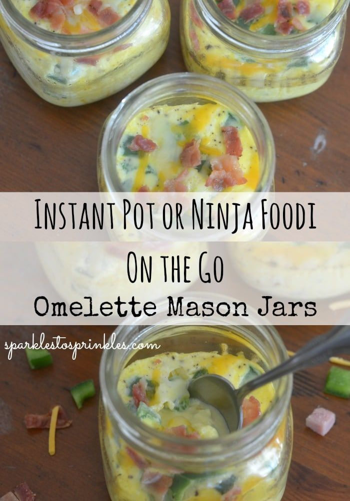 #Foodi #instant #Instant Pot Breakfast Recipes #Jars #Mason #Ninja #Omelette #Pot TheseInstant Pot or Ninja Foodi On The Go Omelette Mason Jars are amazing. With just a tiny bit of meal prep get a week worth of breakfast made. Pin for Later! #mealprep #breakfast #instantpot #pre