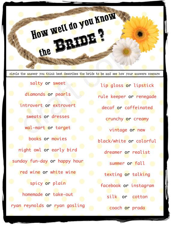 country style wedding shower game instant download