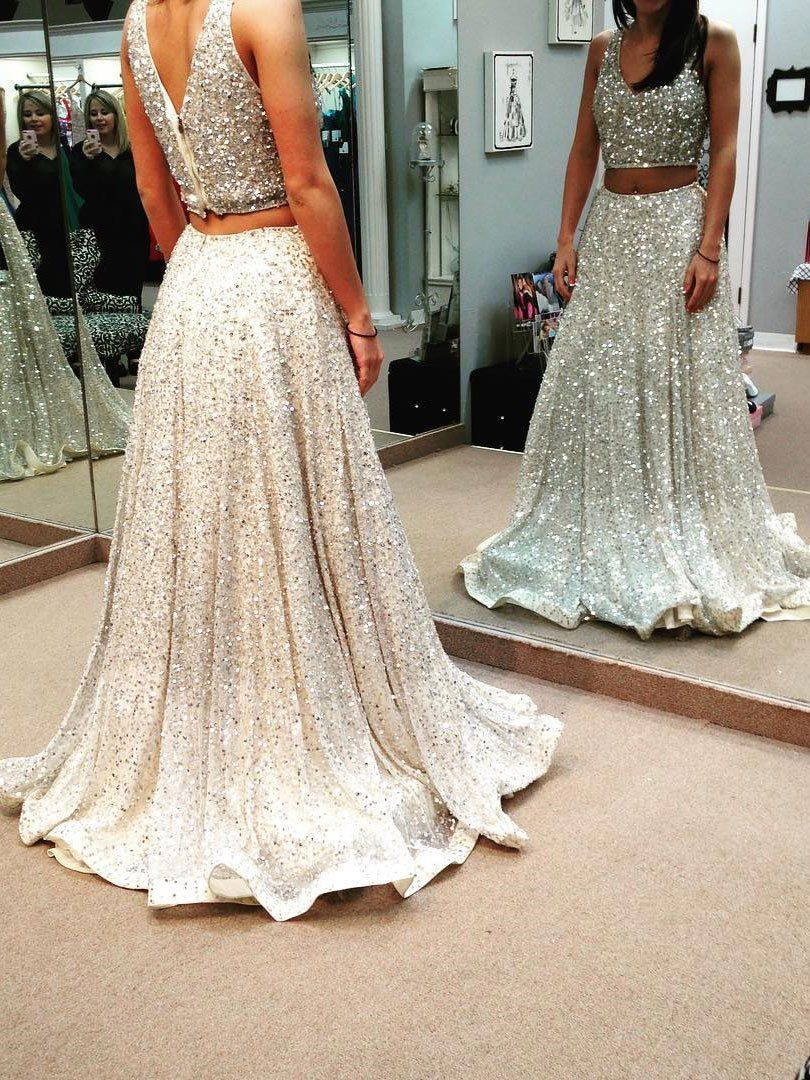Aline silver sequins lace piece long prom dresses apd prom