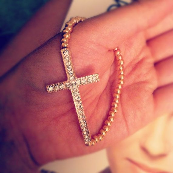 Studded Cross Bracelet in Rose Gold by eycollection on Etsy, $12.00