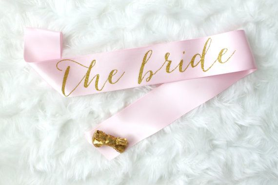 Light Pink And Gold Glitter Bachelorette Sash By GoldandGlamour