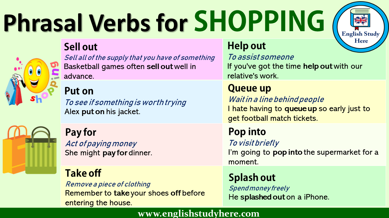 English Phrasal Verbs List Definitions And Example Sentences Phrasal Verbs For Shopping Shopping Phra English Study English Phrases English Grammar Book Pdf [ 720 x 1280 Pixel ]