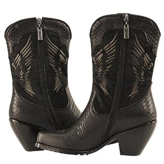 Womens Winged Snake Leather Biker Motorcycle Boots The BEST ladies motorcycle boot styles are at www.SouthernLeathers.com