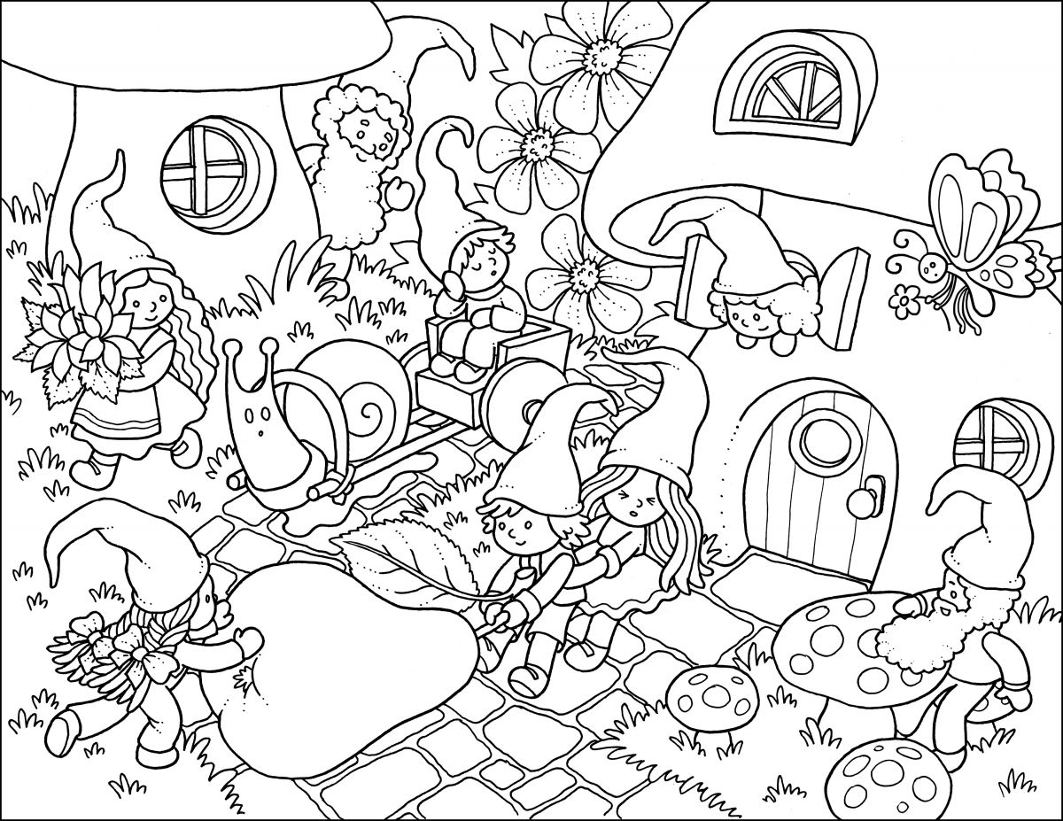 Gnome Time Colouring Page Coloring pages, Colorful