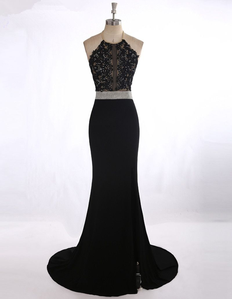 Vestido para formatura sexy see through black lace appliques