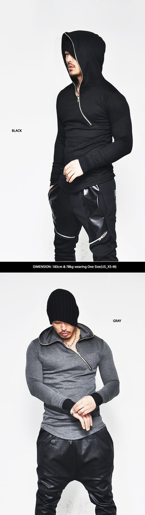 Tops :: Tees :: Built-in Warmer Asymmetric Full-up Hood Knit-Hoodie 56 - Mens Fashion Clothing For An Attractive Guy Look