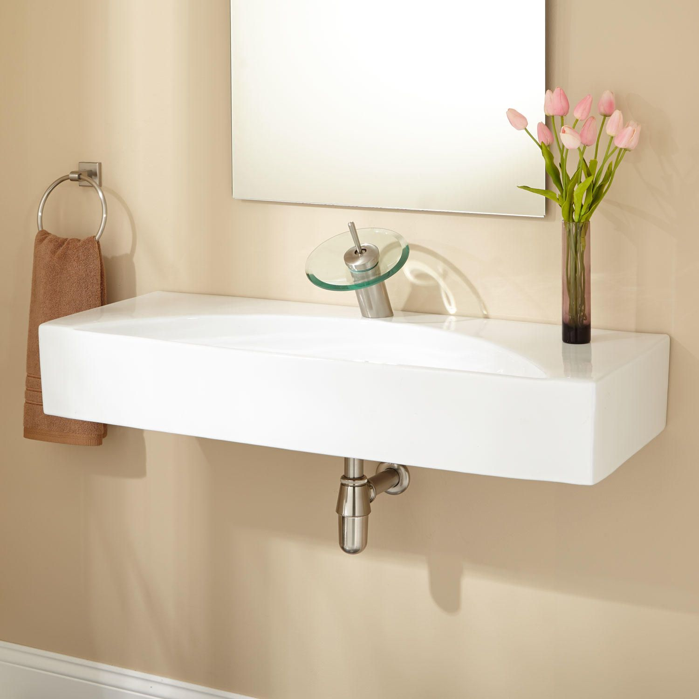 Hiott Porcelain Wallmount Bathroom Sink Glamorous Small Bathroom Sinks Uk Inspiration