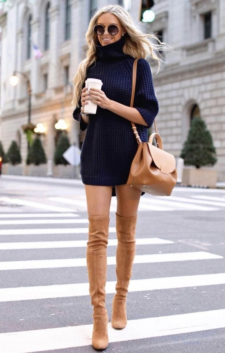 21 winter outfits to copy asap: navy sweater dress with tan