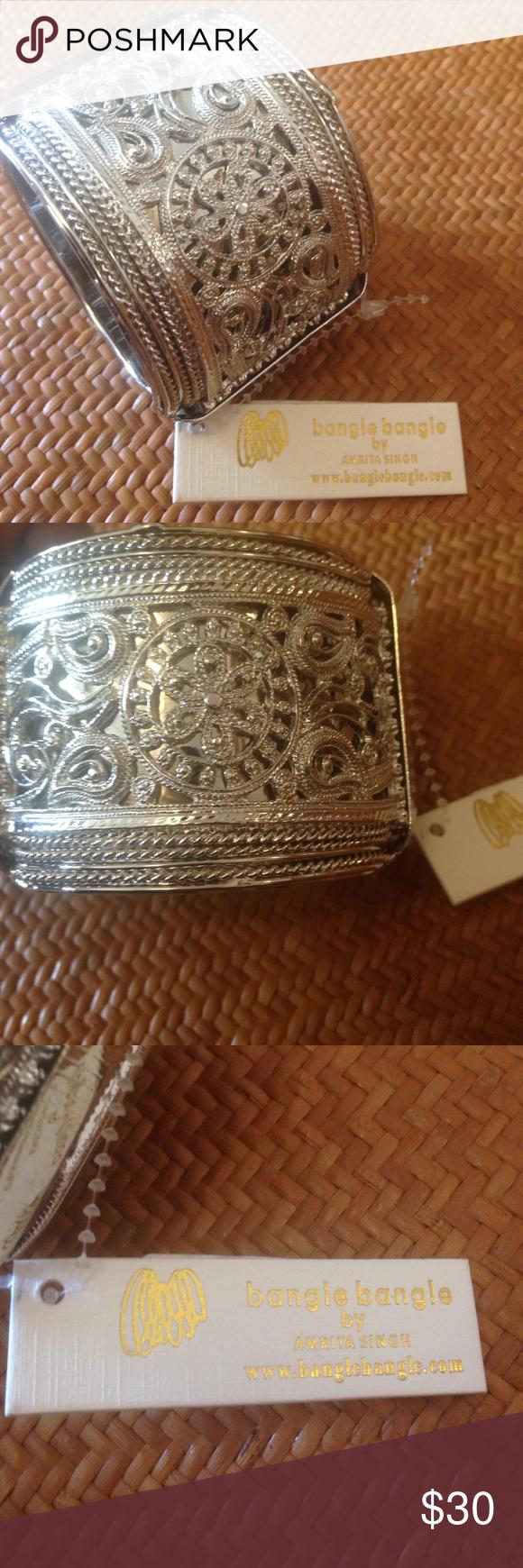 "Amrita Singh NWT silver paisleyprint cuff bracelet Silver tone bangle bangle by Amrita Singh NWT aprox 9.5"" around. Paisley print New With tags Amrita Singh Jewelry Bracelets"