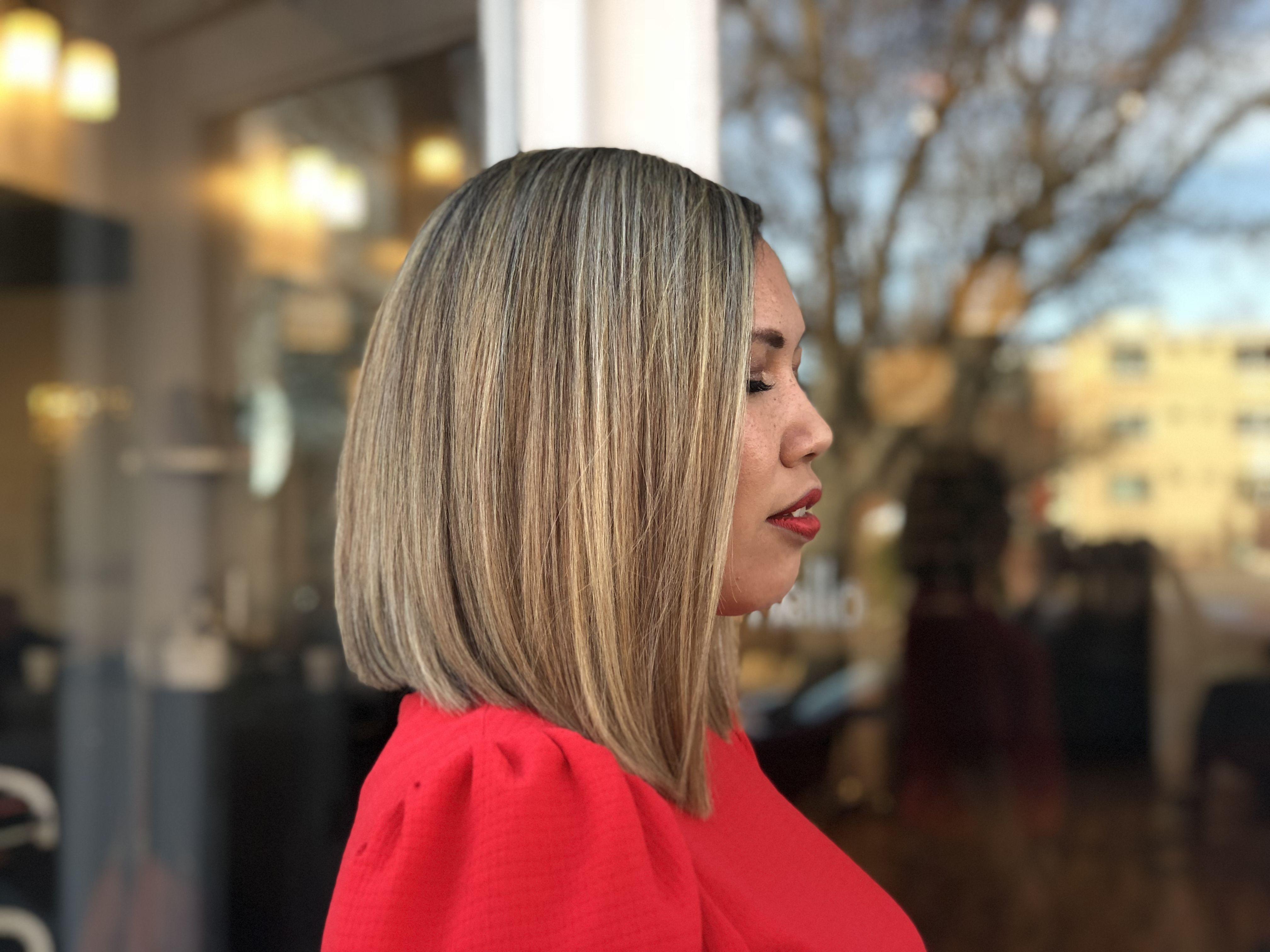 One length bob shorthair bob short hair mediumhair highlights