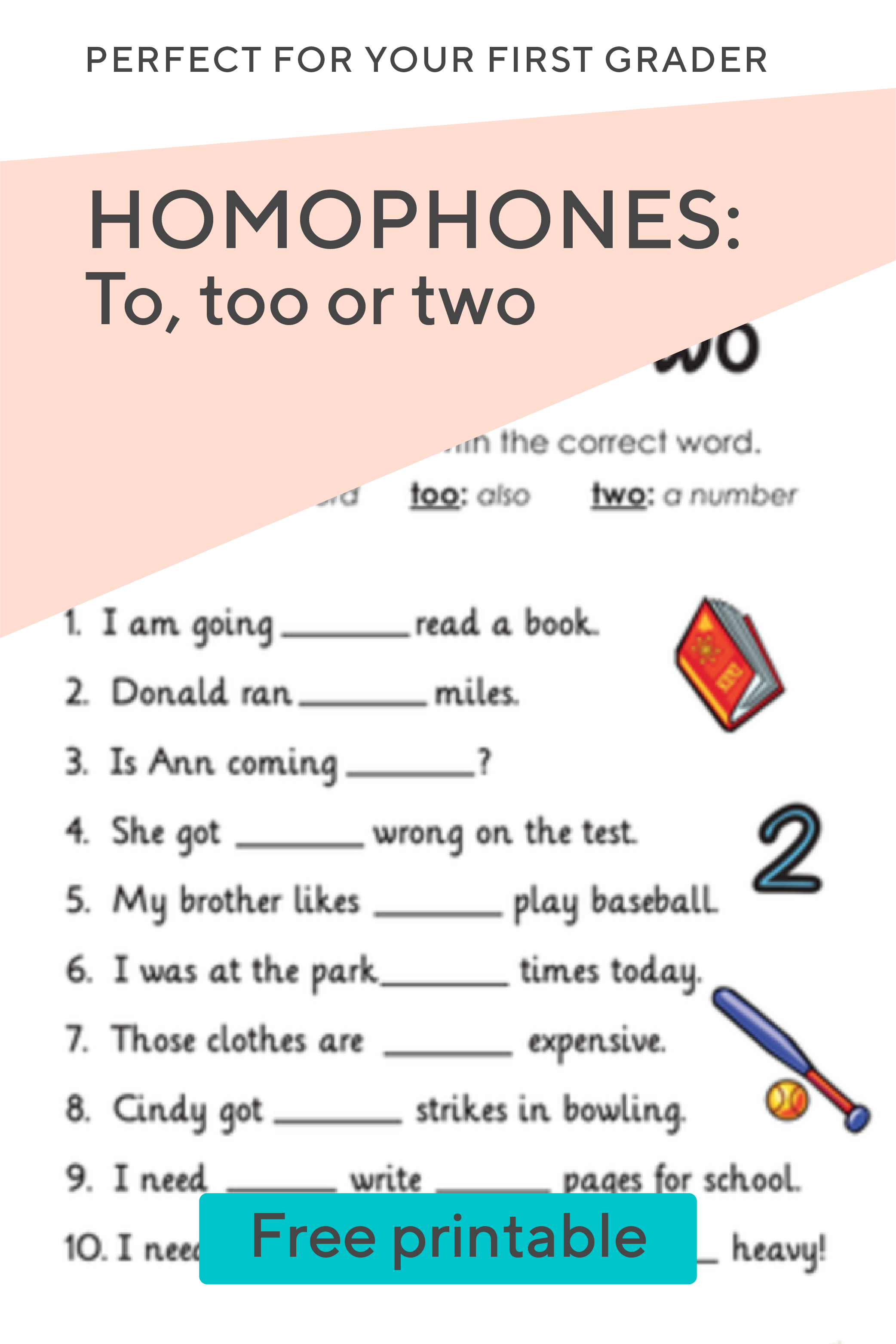 What S The Difference Between These Homophones With This Free Worksheet Your First Grader Will Determine W Elementary Activities Learning To Write Worksheets