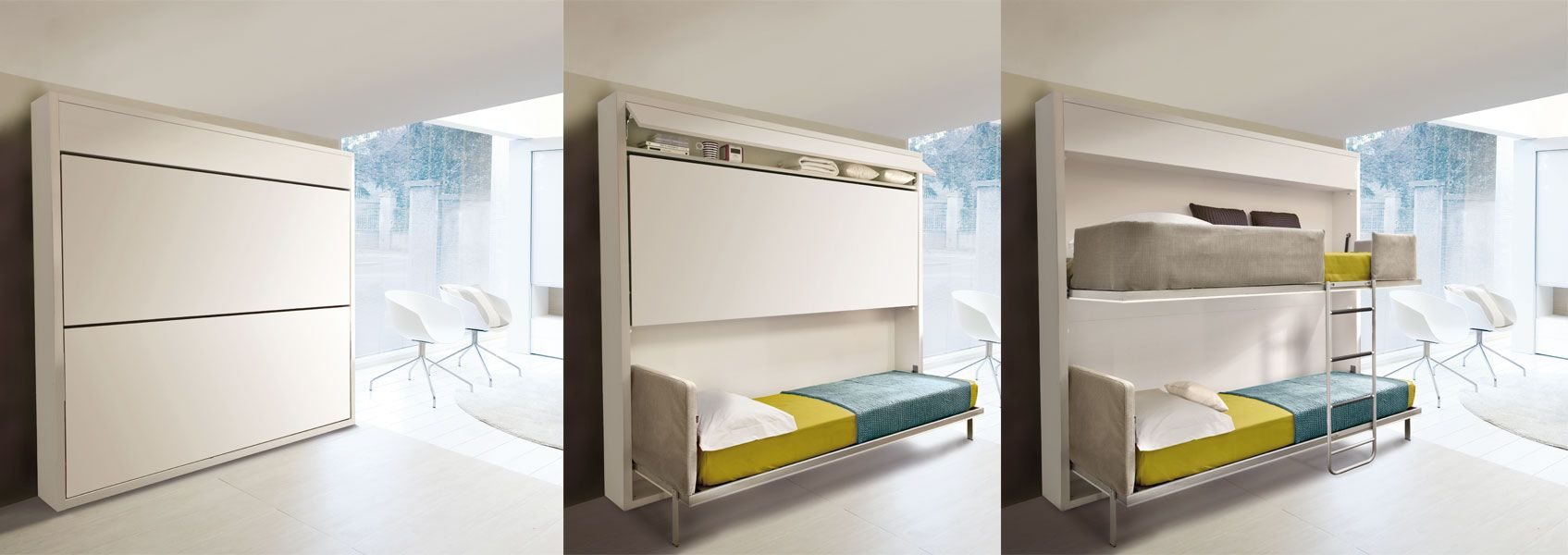 strong>Duas camas retráteis:</strong> o painel (quando fechadas) dá ...
