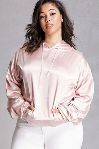 Forever 21+ - A satin woven hoodie by Private Academy™ featuring a drawstring neckline, long sleeves with side ruching, a kangaroo pocket, and an elasticized hem.