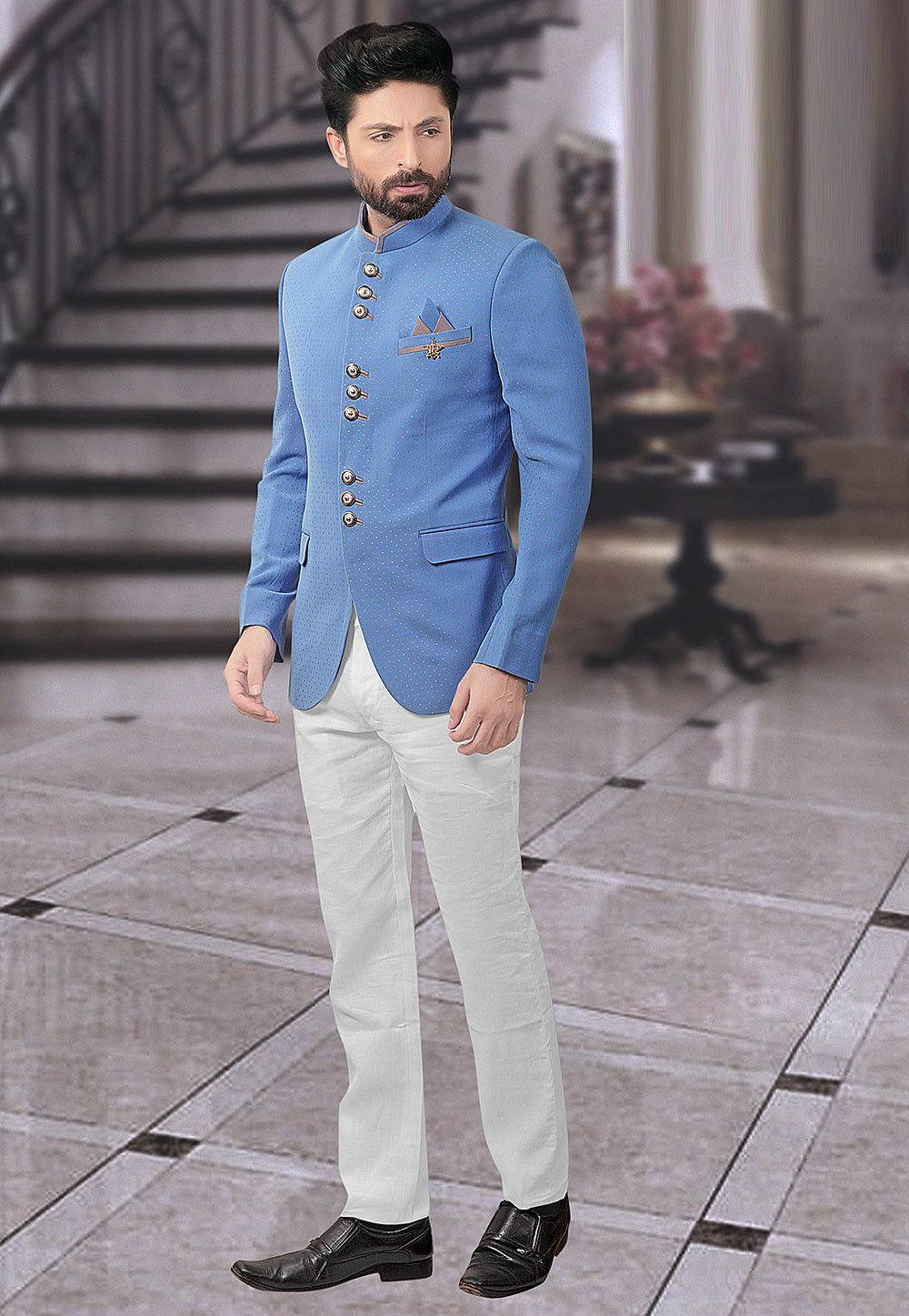 54a606a9a Terry Rayon Jacquard Jodhpuri Suit in Blue This Readymade attire is ...