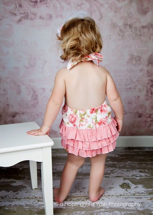 a4bf2ad5da57 Girls Romper Pattern - Halter Tie Neck - sizes 2 - 6 - Optional ...