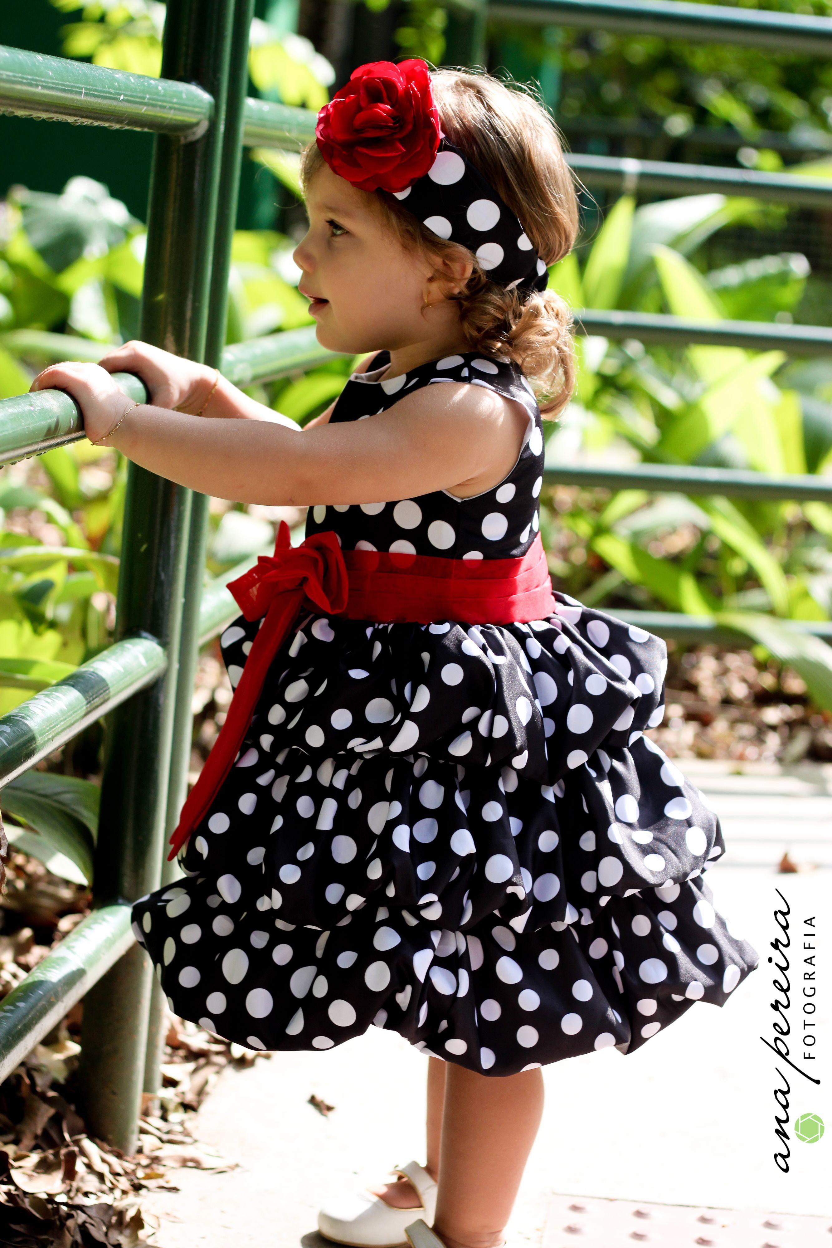 Vestido de poa preto infantil
