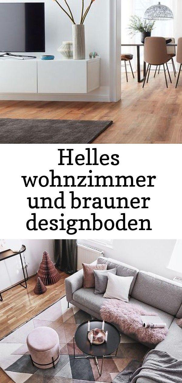 Helles wohnzimmer und brauner designboden abgerundet mit dunklem teppich #vinylboden #modern …