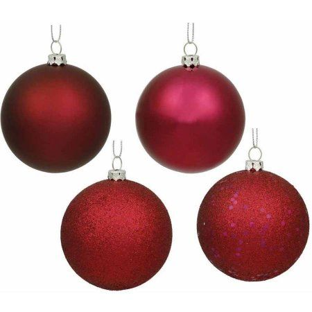 Vickerman 2.4 inch Ball Christmas Ornaments, Pack of 60, Red