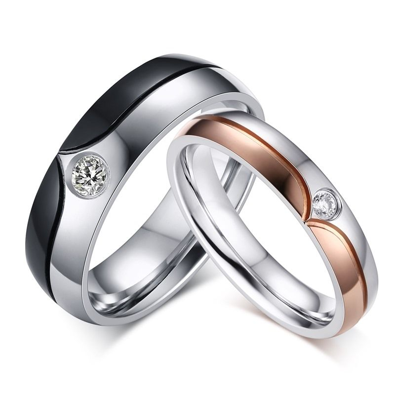 Wholesale Cheap New Stainless Steel Engagement Ring Cubic Zirconia Stainless Steel Wedding Ring Rings For Men Steel Wedding Ring