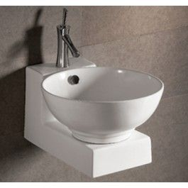 Whitehaus Whkn1051 1060 White Ceramic Round Above Wall Mounted Bathroom Sinks Wall Mounted Sink Sink