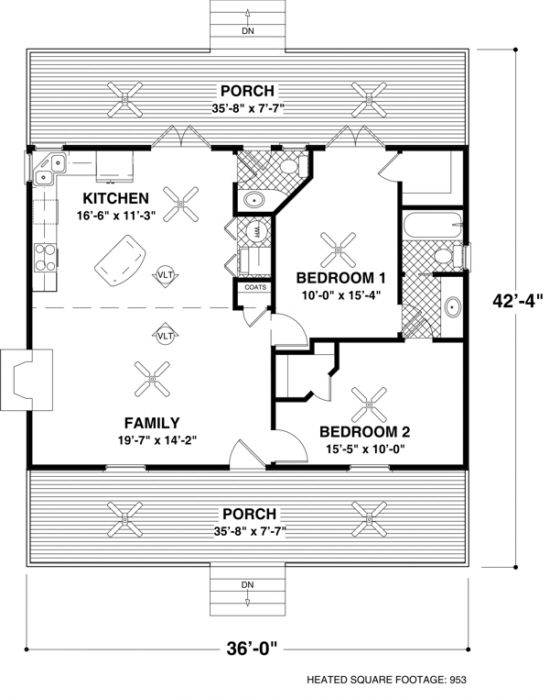Ordinary Small House Floor Plans With Porches #2: House Plan 036-00006 - Mountain Plan: 953 Square Feet, 2 Bedrooms, 1.5  Bathrooms. Small House Floor ...