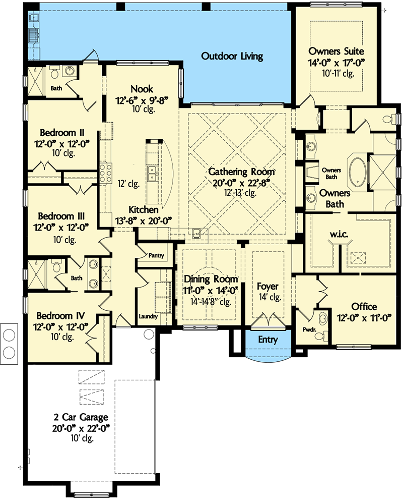 Plan 42835mj Classic 4 Bed Mediterranean House Plan Mediterranean House Plans Mediterranean House Plan Southern House Plans