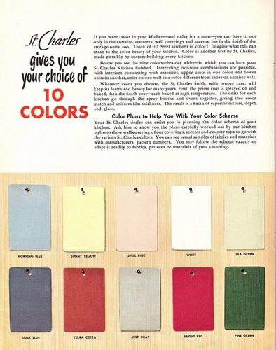 50s color palette for St. Charles kitchen cabinets | 1950\'s design ...