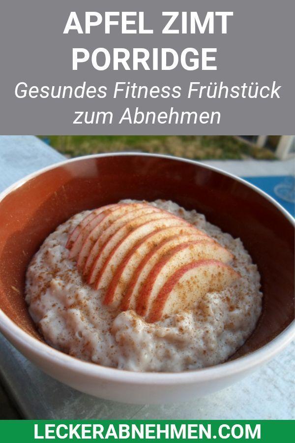 Schnelles Apfel Zimt Porridge - Fitness Rezept zum Abnehmen   - Fitness Rezepte - #Abnehmen #Apfel #...