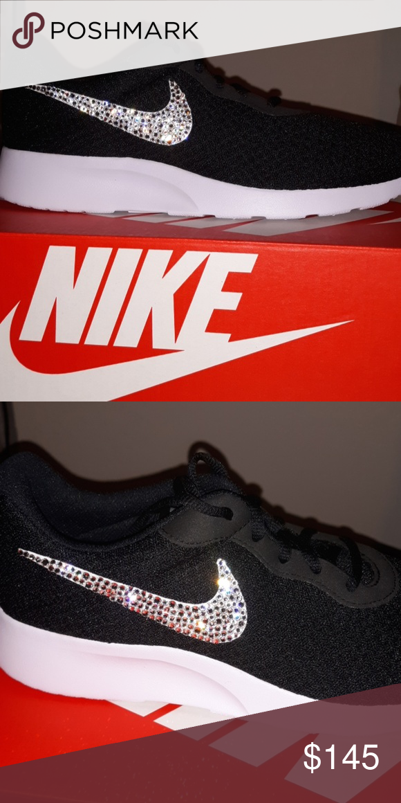 646c1d24d312 Women s Nike tanjun black and white bling ooak These are custom nikes I  will bling for