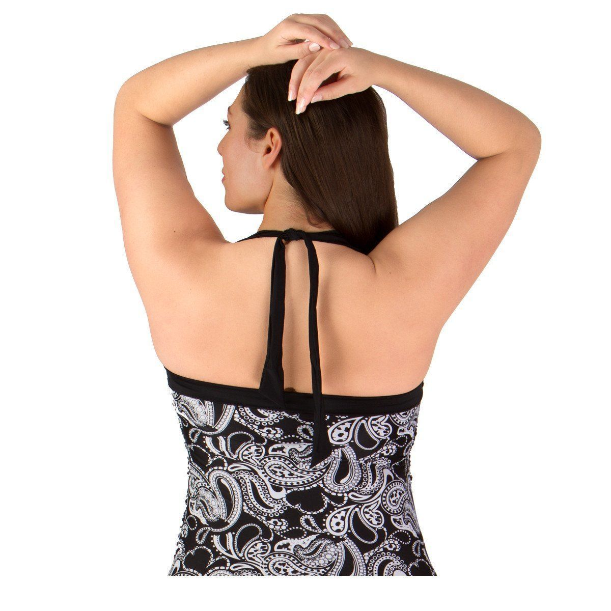 One-piece plus size swimdress and swimsuit that's great for all body types Soft cup bra and halter straps.