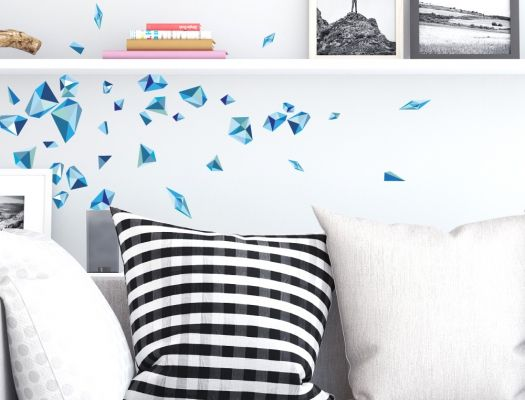 Retro Wandtattoo Muster - Blau Retro Wandsticker Pinterest - wandtattoo wohnzimmer retro
