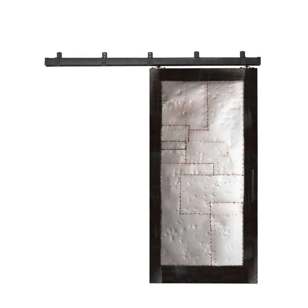 Barn door hardware rlp v track rectangular hanger reclaimed lumber - Steampunk Matte Black Metal Barn Door With Box Rail Sliding Door Hardware Kit