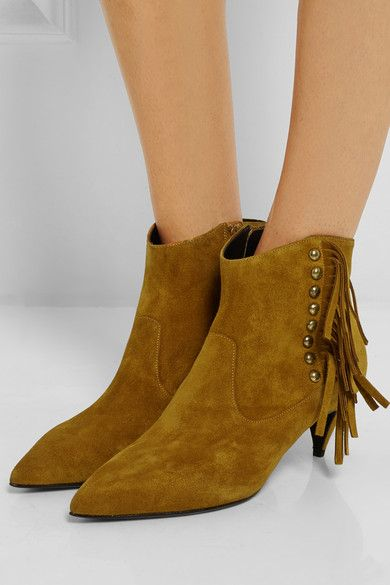 SAINT LAURENT Fringed studded suede ankle boots   Shoes ...
