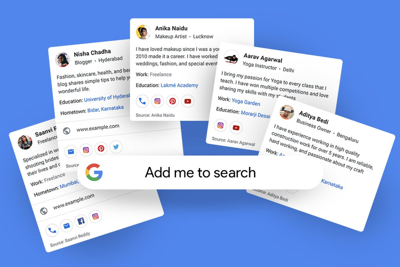Google Tests New Profile Cards That Let You Add Yourself To Search Results Visiting Cards Google Search Results Virtual Card