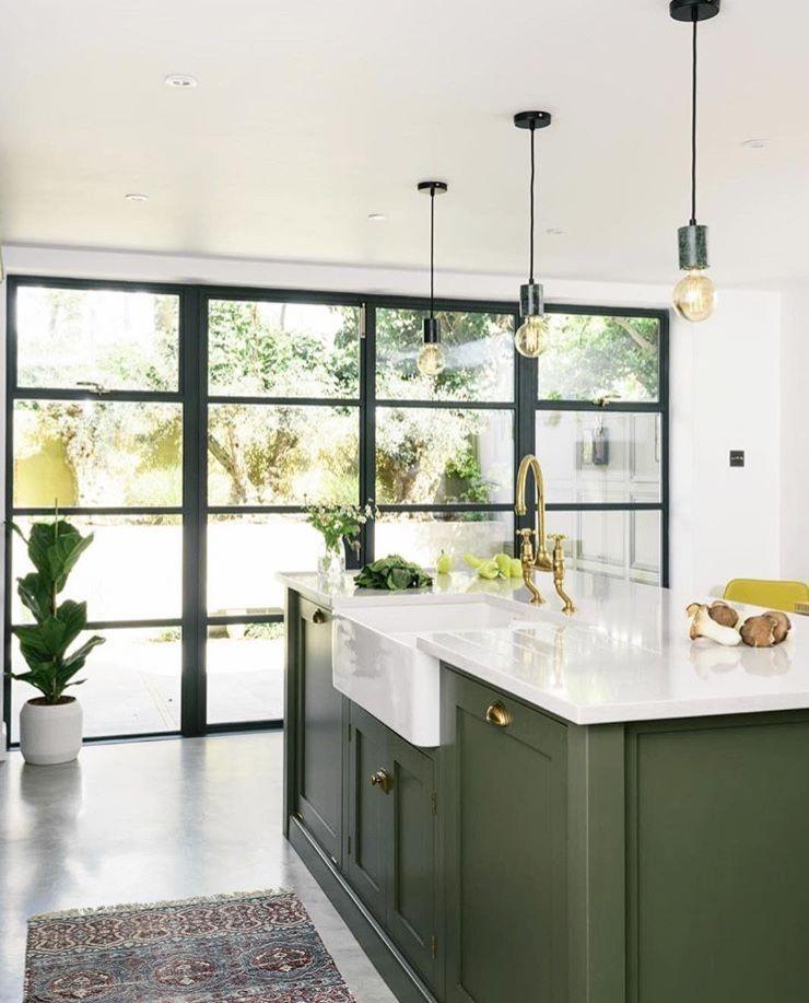 Sage Green Island Kitchen Interior Shaker Kitchen Island Kitchen Design