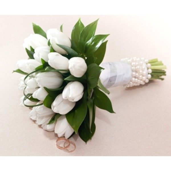 Tulip Wedding Bouquets Pearled White Bridal Bouquet Stunning Tulips