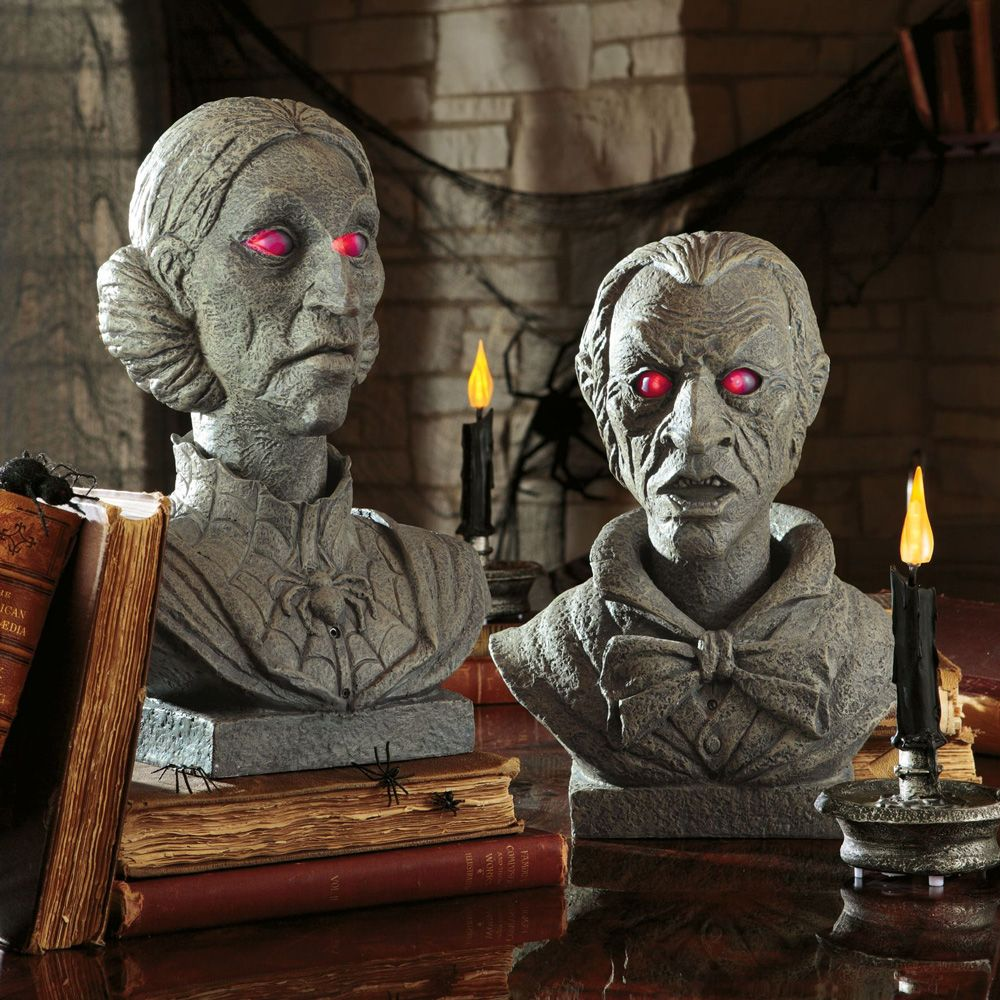 talking halloween busts - could get busts from thrift stores and - Decorate For Halloween