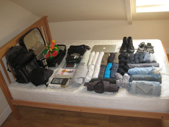 All my possessions laid out before I left Cork on April 28th, 2011. Apart